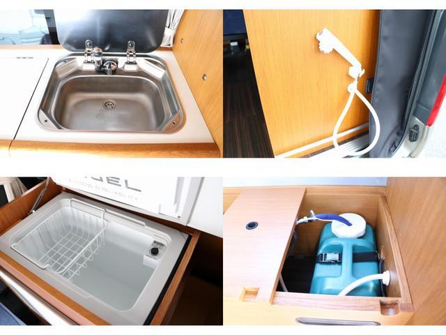 トイファクトリー製ランドティピー ナビ Bカメラ ETC フリップダウンモニター ツインサブバッテリー 走行充電 外部電源・充電 シンク 外部シャワー 冷蔵庫 FFヒーター ベンチレーター 1オーナー(12枚目)