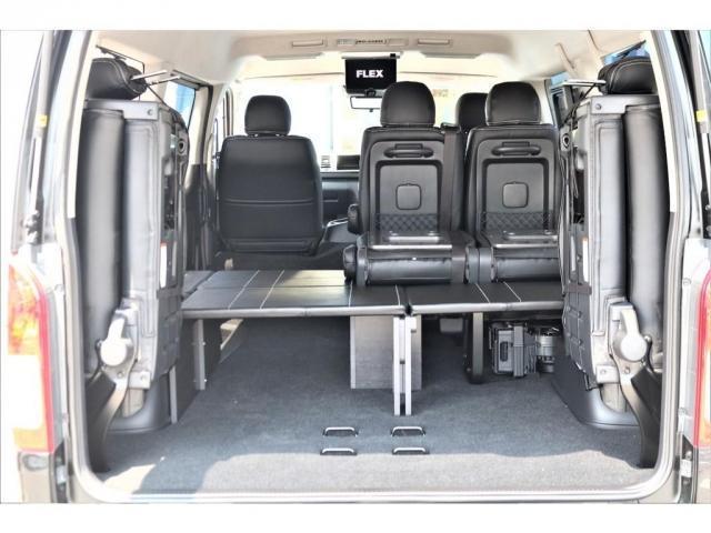 GL ロング パーキングサポート・ハイエースワゴン・パノラミックビューモニター・デジタルインナーミラー・オリジナルシートカバー・オリジナルzeroワゴンベッドキット・7インチワイドナビ・ETC・後席用モニター(15枚目)