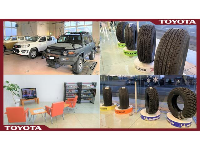 RV-PARK SECONDでは、クルマの楽しみを提案します。タイヤ、エアロや、車高等ご相談承ります。SUVの楽しみをイメージしていただくための、各メーカーのSUV向けタイヤを展示しております