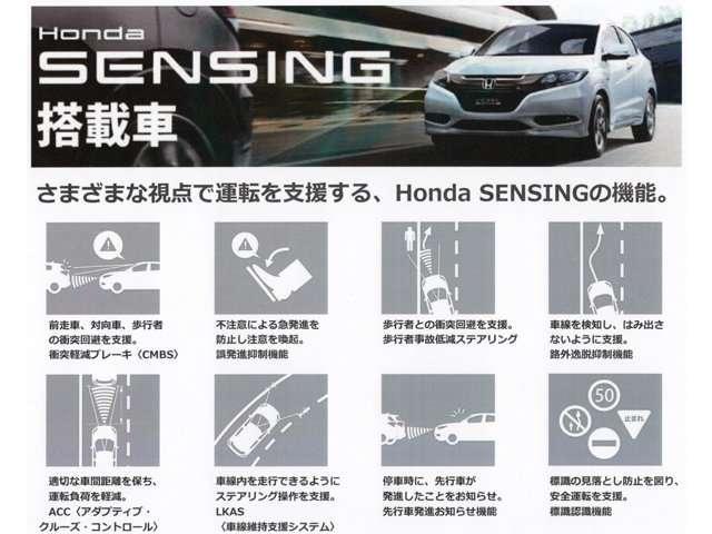 ホンダセンシング搭載車です。レーダーとカメラで運転を支援し、被害を軽減します。