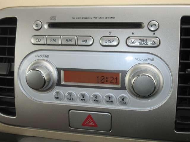 日産純正オーディオはCDプレーヤー・AM/FMチューナー付です。お好みの音楽を聞きながらのドライブは楽しさ倍増ですね♪