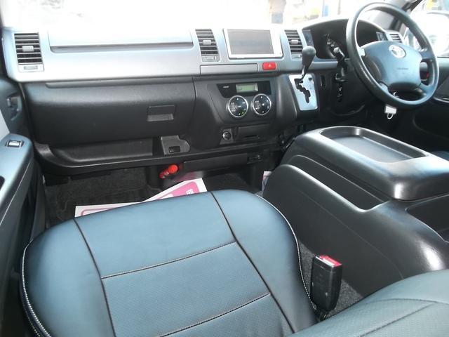 トヨタ ハイエースバン スーパーGL3型1オナナビTVBカメラエアロ黒革調スライド窓