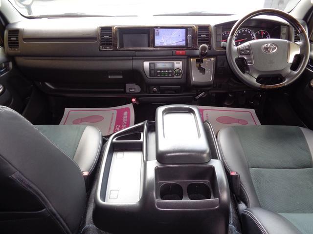 ロングワイドスーパーGL 4型ダークプライム4WD6AT1オーナー禁煙車SDフルセグバックカメラ両側電動ドアスマートキーセキュリティーエアロLEDライト専用レザー&黒木目インテリアWエアバック(7枚目)