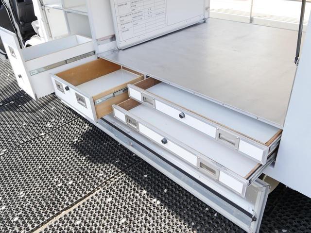 日産 バネットトラック 引出し収納100V電源IV付3方跳ね上げゲート資材運搬作業車