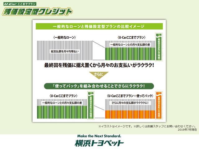 【U-Carここまでプランのイメージ】 一般的なローンと残価設定型プランの比較イメージです。最終回を残価に据え置くから月々のお支払いがラクラク!詳しくは当店スタッフまで!