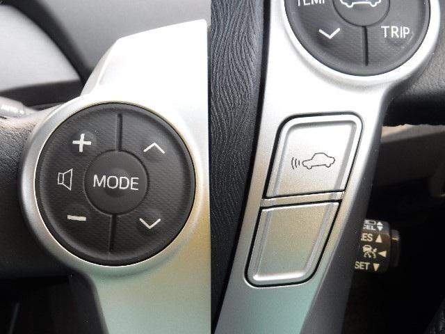 ステアリングスイッチでオーディオ調整。ついていくをサポートするレーダークルーズコントロール付。