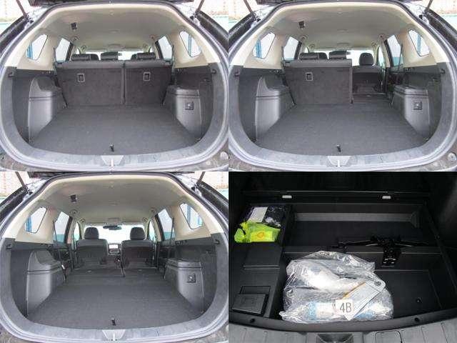荷室はリヤシートを畳む事で広く使う事が可能です。床下にパンク修理キット&ジャッキが収納されております。