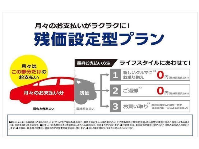 【わくわくプランU〜残価設定型ローン〜】車両価格の一部を残価として据え置き、残りの金額を月々お支払い頂きます。最終回金額(残価)のお支払いは3通りからお選び頂けます。