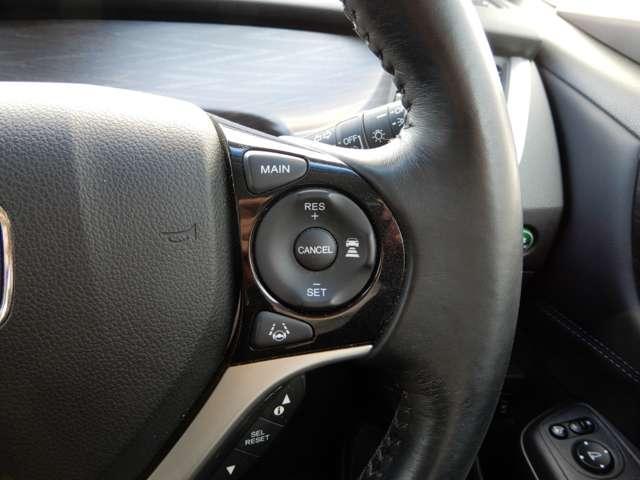 ハンドル右側にアダプティブクルーズコントロール【ACC】のスイッチがついています。