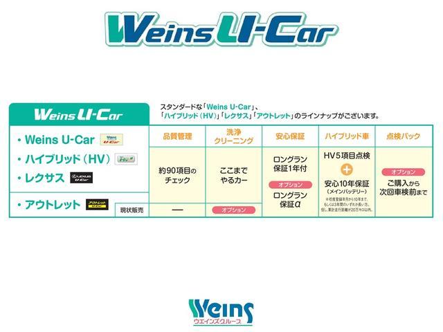 【Weins U-Car】スタンダードな「Weins U-Car」、「ハイブリッド(HV)」「アウトレット」のラインナップがございます。