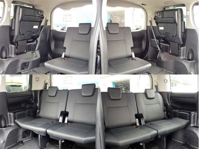 3列目シートは両サイドに跳ね上げられるタイプのシートで片側づつ使えるので便利です。