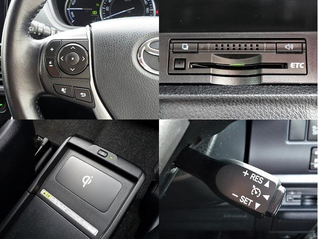 左上はステアリングスイッチで音量やソースの切り替ができます。右下はクルーズコントロールレバー。おくだけ充電は便利です。ETCも装備してます
