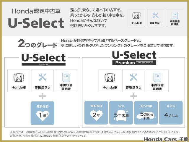 Honda認定中古車U-Selectは誰もが安心して選べる中古車を。乗ってからも安心が続く中古車を。そんな想いで選び抜いたクルマです。