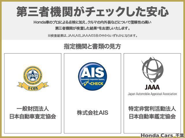 第三者機関がチェックした安心。Honda車のプロによる点検に加え、クルマの内外装などについて信頼性の高い第三者機関が検査した結果をお渡しいたします。