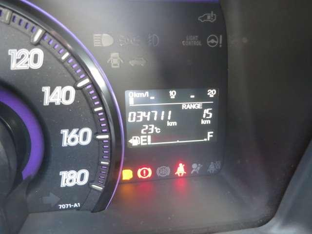 現在の走行距離になります。こちらのディスプレイには平均燃費や残ガソリンでの走行距離数など反映されます。