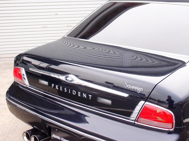 人気のプレジデント カスタム車両の入庫!純正ナビゲーションにストラーダHDD地デジナビゲーションを装備し、バックカメラ、人気のJIC車高調、RMP20AWなど多数の高額パーツを装備した一台となります