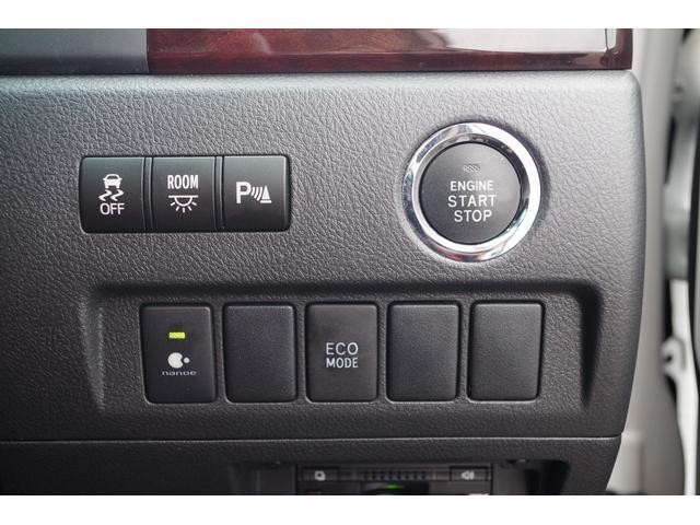 【スイッチ周り】プッシュスタート・コーナーセンサー/ルームイルミスイッチ/横滑防止装置/ECOモード/nano-e装備。高級ミニバンヴェルファイアならではの充実装備。快適なドライブをサポート。