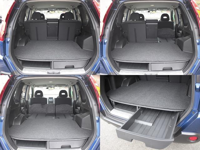 収納の多さはさすが日産車!!床下にも引き出しタイプのラゲッジボックスが装備されていますので、小さなものから大きなものまですっきり大容量の収納スぺースを確保!!