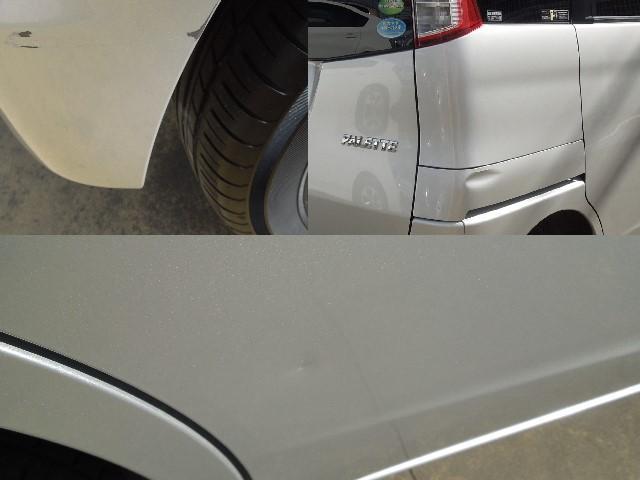 リヤバンパーの一部に擦り傷あり。右リヤサイドパネルの一部、右リヤドアの一部に凹みキズがありますので、現車のご確認をお願い致します。
