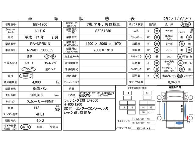 3.5t超ワイドロング 保冷バン 3枚扉 サイドドア 高床(3枚目)