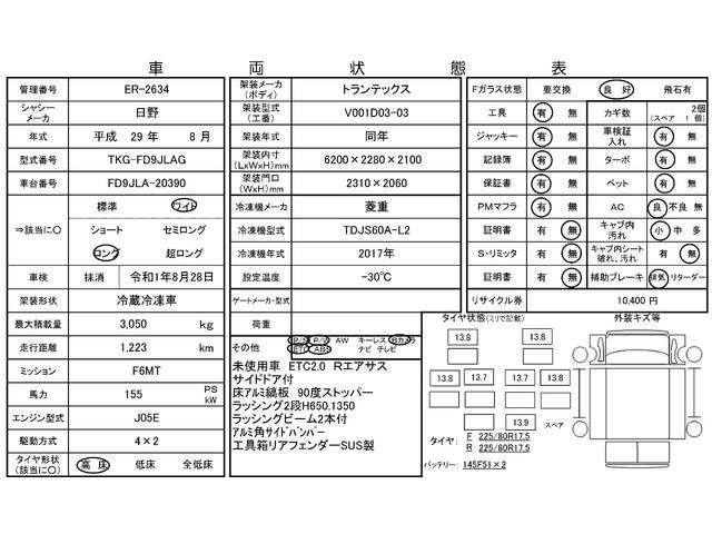 4tワイド 冷蔵冷凍車 低温 サイドドア ベッド付 エアサス(3枚目)