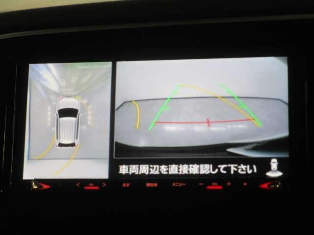 バックモニターは後退時に車両の後ろ側と前後左右を見下ろした様に表示します。車庫入れなどでバックする際に後方確認ができて便利です。車庫入れが苦手な人もこれで安心。