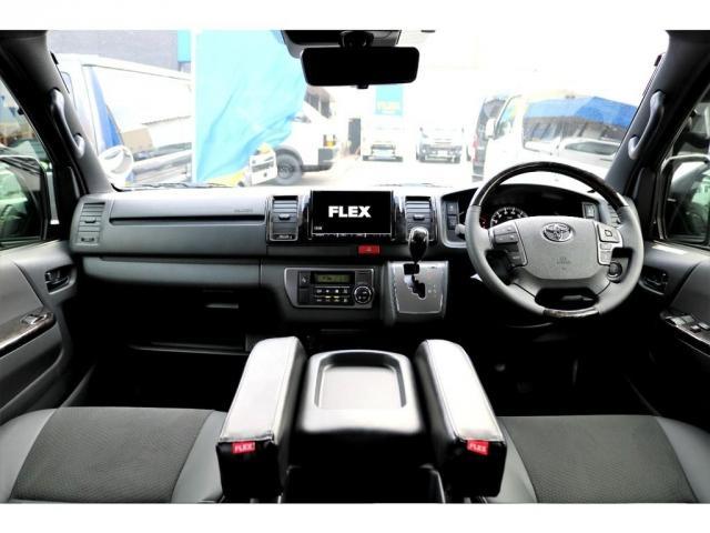 スーパーGL ダークプライムII ガゾリン 2WD 6型 ブラック フロントスポイラー オーバーフェンダー 17インチアルミ TOYO H20タイヤ LEDテール ベッドキット 8インチSDナビ ETC2.0 バックカメラ(2枚目)