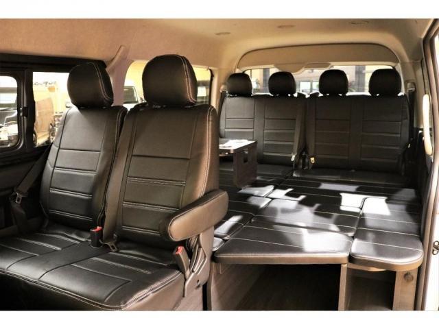 GL ガソリン 4WD 6型 パールホワイト フロントバンパーガード オーバーフェンダー 16インチアルミ オールテレーンタイヤ ベッドキット テーブルキット フロア施工 シートカバー SDナビ ETC(17枚目)