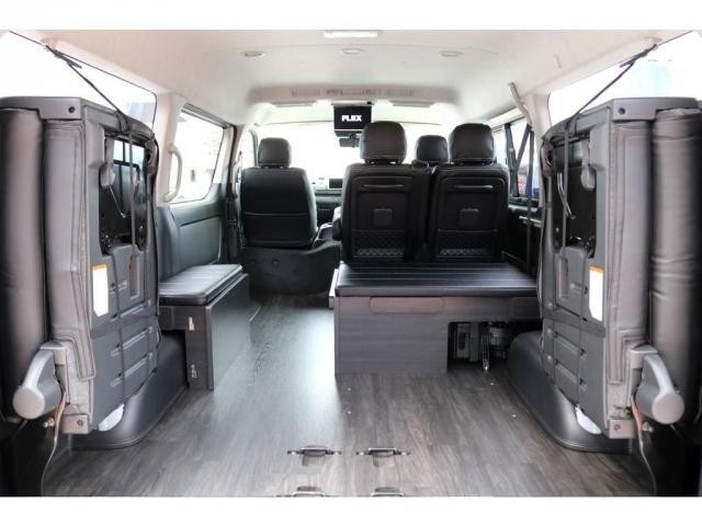 GL ガソリン 4WD 6型 パールホワイト 1.15インチローダウン フロントスポイラー オーバーフェンダー 17インチアルミ H20タイヤ LEDテール ベッド テーブル フロア施工 SDナビ ETC(17枚目)