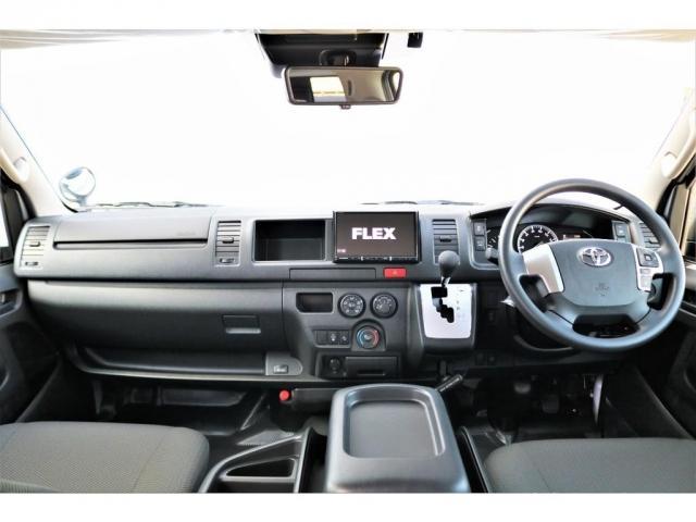 DX ワイド スーパーロング GLパッケージ ハイエースバン DX スーパーロング ディーゼルターボ 4WD 6型 パールホワイト  フロア施工 17インチアルミ オーバーフェンダー フロントスポイラー LEDテールランプ 8インチSDナビ(6枚目)