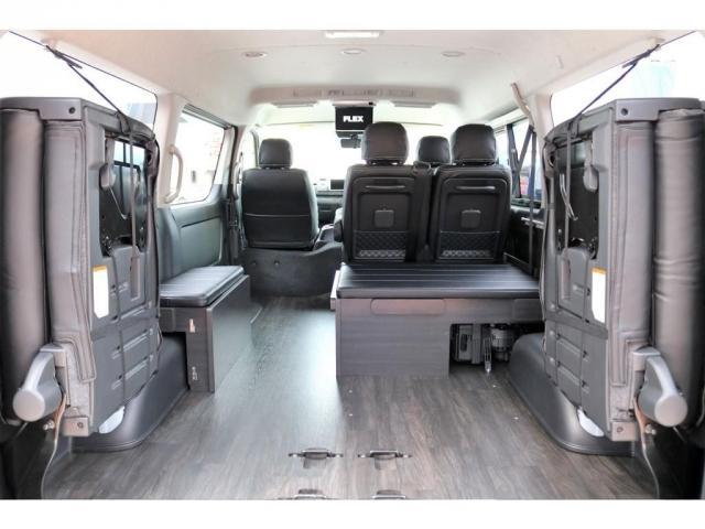GL ロング 2WD ガソリン 6型 パール 内装架装Ver1 フロントスポイラー オーバーフェンダー 17インチAW 1.5インチローダウン SDナビ フリップD シートカバー(6枚目)