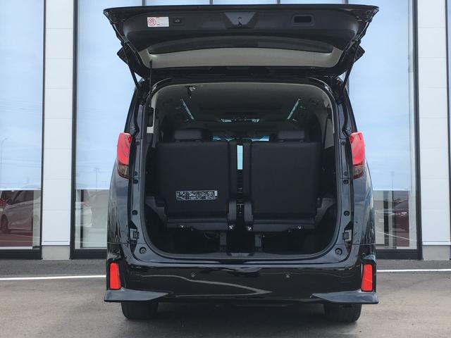 【トランク】荷物の積み込むのに十分のスペースがございます。また、よりスペースが欲しいということであれば、三列目シートを跳ね上げていただければより大きなスペースを確保できます。