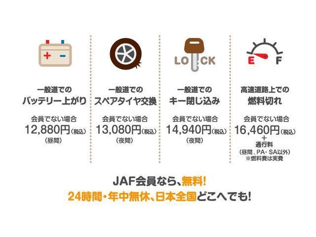 一般道でのバッテリーあがり、一般道でのスペアタイヤ交換、一般道でのキー閉じ込み、高速道路上での燃料切れJAF会員なら、無料!24時間・年中無休、日本全国どこでも!
