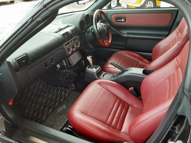 Vエディションファイナルバージョン 6速シーケンシャル エアロ 専用赤革シート Rays16&17インチアルミホイール 柿本マフラー トヨタ純正HDDナビ VVTi アルミペダル 赤革コンビハンドル ステアシフト オープントップ(49枚目)