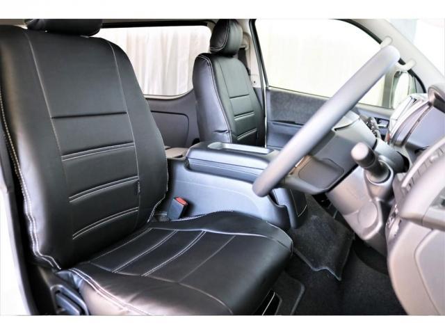 フロントシートにはフレックスオリジナルのシートカバーを設置!質感が更にアップしております。