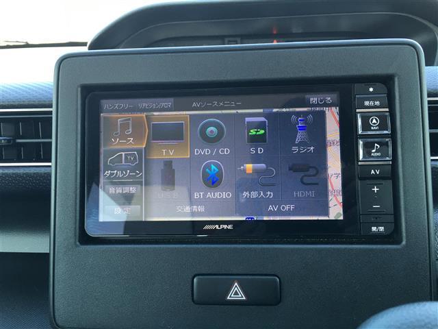 ハイブリッドXS アルパインナビ フルセグテレビ Bluetooth バックカメラ 衝突軽減ブレーキ シートヒーター 革調シートカバー オートライト ステアリングスイッチ アイドリングストップ 純正14インチアルミ(4枚目)