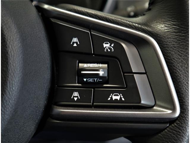 アイサイトの便利機能「前車追従型クルーズコントロール」の操作をハンドルから手を放さずに行うスイッチです。システムON-OFF、車間距離設定、5キロ刻みの速度設定、車線中央維持などをコントロールします。