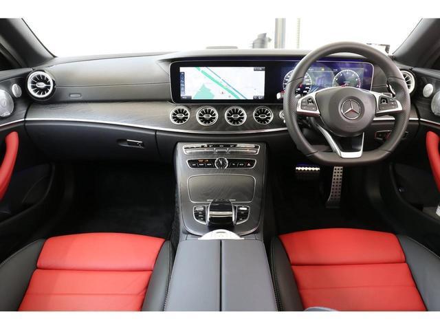 E200 カブリオレ スポーツ レザーパッケージ ワンオーナー 赤内装 純正ナビ フルセグTV 360°カメラ LEDヘッドライト ブルメスタサラウンドシステム 純正19インチアルミホイール ヘッドアップディスプレイ 禁煙車(9枚目)