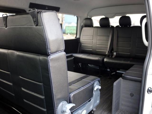 GL ロング 未登録新車 FLEXシートアレンジVer2 6型ホワイトパール エアロフロントリップ テールランプ テーブル 床張り施工 ETC フルフラット 車中泊ベッドキット ベンチシートパワースライド カスタム(13枚目)