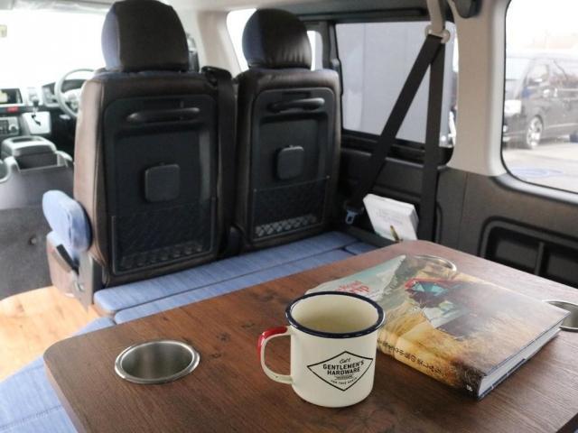 GL ロング FLEXシートアレンジVer1.5デニムカスタム フルフラットベッドキット車中泊対応 テーブルモード 3列目シート跳ね上げ収納可能 床張りフローリング施工 デニム&ウッド調 全席デニムシートカバー(3枚目)