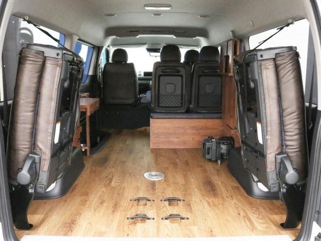 GL ロング FLEXシートアレンジVer1.5デニムカスタム フルフラットベッドキット車中泊対応 テーブルモード 3列目シート跳ね上げ収納可能 床張りフローリング施工 デニム&ウッド調 全席デニムシートカバー(10枚目)