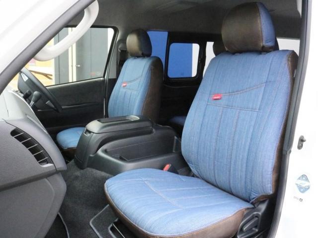 GL ロング FLEXシートアレンジVer1.5デニムカスタム フルフラットベッドキット車中泊対応 テーブルモード 3列目シート跳ね上げ収納可能 床張りフローリング施工 デニム&ウッド調 全席デニムシートカバー(13枚目)