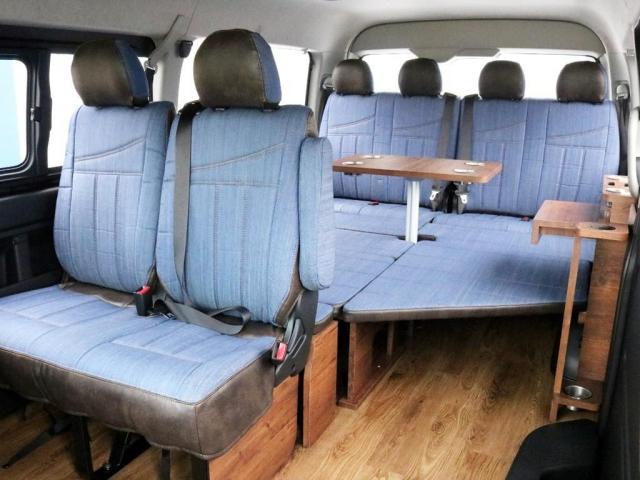 GL ロング FLEXシートアレンジVer1.5デニムカスタム フルフラットベッドキット車中泊対応 テーブルモード 3列目シート跳ね上げ収納可能 床張りフローリング施工 デニム&ウッド調 全席デニムシートカバー(14枚目)