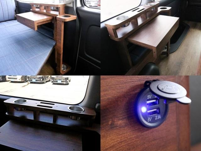 GL ロング FLEXシートアレンジVer1.5デニムカスタム フルフラットベッドキット車中泊対応 テーブルモード 3列目シート跳ね上げ収納可能 床張りフローリング施工 デニム&ウッド調 全席デニムシートカバー(16枚目)