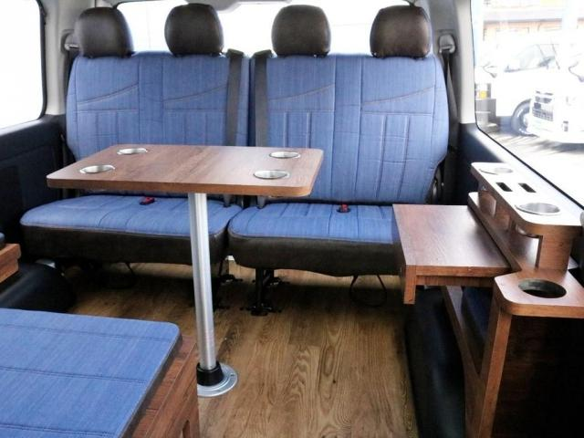 GL ロング FLEXシートアレンジVer1.5デニムカスタム フルフラットベッドキット車中泊対応 テーブルモード 3列目シート跳ね上げ収納可能 床張りフローリング施工 デニム&ウッド調 全席デニムシートカバー(17枚目)