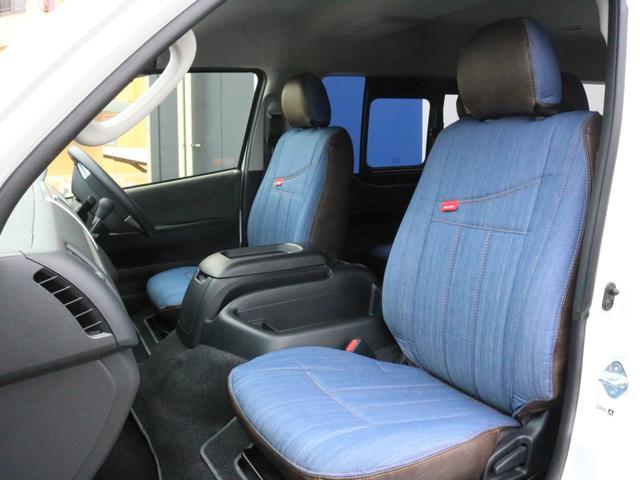 GL ロング FLEXシートアレンジVer1.5デニムカスタム フルフラットベッドキット車中泊対応 テーブルモード 3列目シート跳ね上げ収納可能 床張りフローリング施工 デニム&ウッド調 全席デニムシートカバー(26枚目)