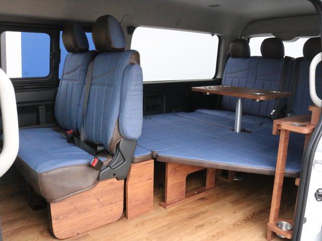 GL ロング FLEXシートアレンジVer1.5デニムカスタム フルフラットベッドキット車中泊対応 テーブルモード 3列目シート跳ね上げ収納可能 床張りフローリング施工 デニム&ウッド調 全席デニムシートカバー(32枚目)