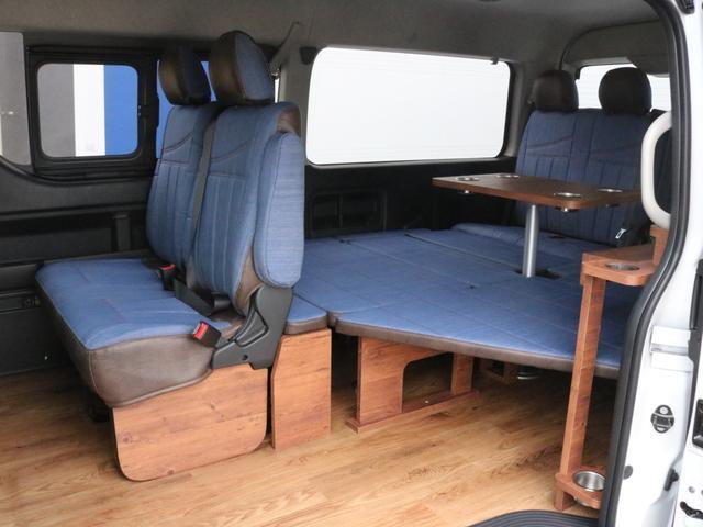 GL ロング FLEXシートアレンジVer1.5デニムカスタム フルフラットベッドキット車中泊対応 テーブルモード 3列目シート跳ね上げ収納可能 床張りフローリング施工 デニム&ウッド調 全席デニムシートカバー(33枚目)