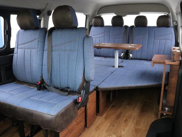 GL ロング FLEXシートアレンジVer1.5デニムカスタム フルフラットベッドキット車中泊対応 テーブルモード 3列目シート跳ね上げ収納可能 床張りフローリング施工 デニム&ウッド調 全席デニムシートカバー(34枚目)