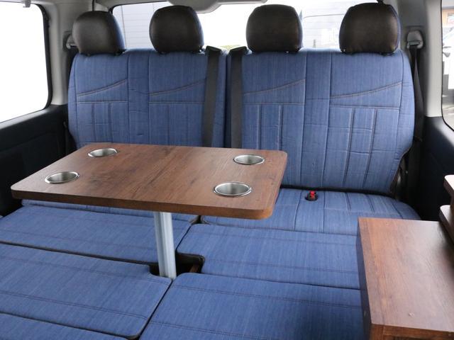 GL ロング FLEXシートアレンジVer1.5デニムカスタム フルフラットベッドキット車中泊対応 テーブルモード 3列目シート跳ね上げ収納可能 床張りフローリング施工 デニム&ウッド調 全席デニムシートカバー(35枚目)